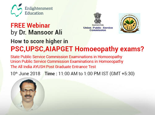 Image result for Webinar on How to score higher in PSC,UPSC,AIAPGET Homoeopathy Examinations?